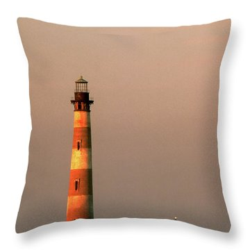 Morris Island  And Sulivan Island Lighthouses  Throw Pillow by John Harmon