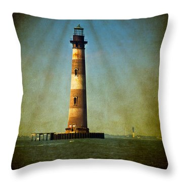 Morris Island Light Color Vintage Throw Pillow