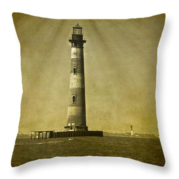 Morris Island Light Vintage Bw Uncropped Throw Pillow