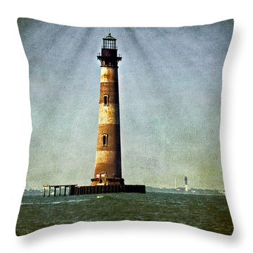 Morris Island Light Vintage Color Uncropped Throw Pillow