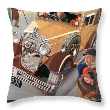 Morris Major 6 - Vintage Car Poster Throw Pillow by World Art Prints And Designs