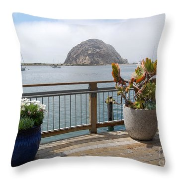 Throw Pillow featuring the photograph Morro Bay And Plants by Debra Thompson