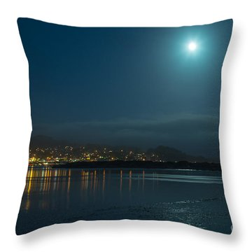 Morro Bay At Night Throw Pillow