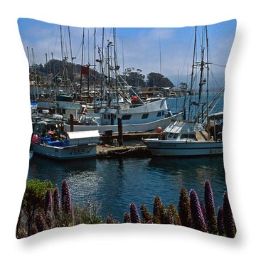 Morro Bay Harbor Throw Pillow by Kathy Yates