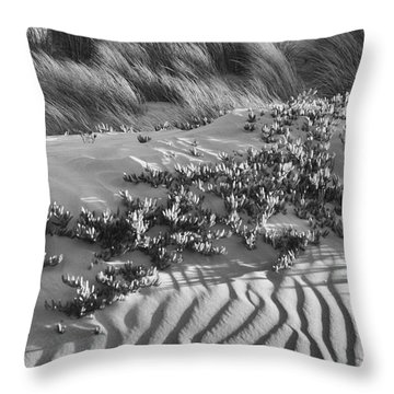 Morro Beach Textures Bw Throw Pillow
