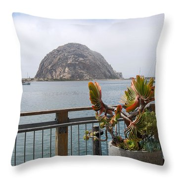 Throw Pillow featuring the photograph Morro Rock At Morro Bay by Debra Thompson