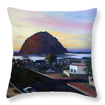 Morro Rock At Night Throw Pillow