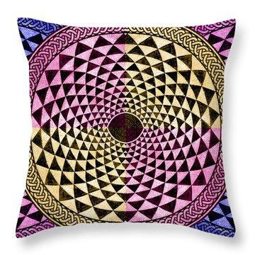 Mosaic Circle Symmetric  Throw Pillow by Tony Rubino