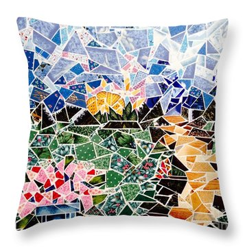 Mosaic Garden Path Throw Pillow by Dani Abbott