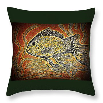 Mosaic Goldfish In Charcoal Throw Pillow