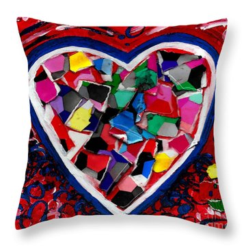Mosaic Heart Throw Pillow by Genevieve Esson