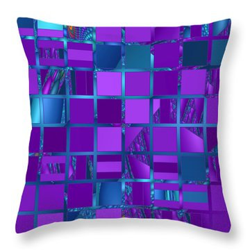 Mosaic In Purple And Teal Throw Pillow by Judi Suni Hall
