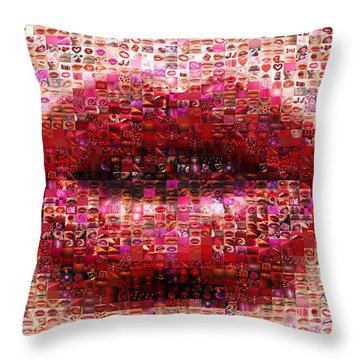 Mosaic Lips Throw Pillow