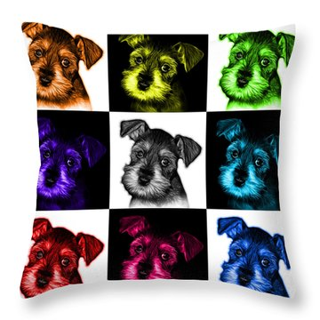 Mosaic Salt And Pepper Schnauzer Puppy 7206 F - V2 Throw Pillow by James Ahn