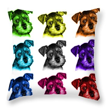 Mosaic Salt And Pepper Schnauzer Puppy 7206 F - Wb Throw Pillow by James Ahn