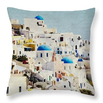 Mosaic - Santorini Throw Pillow by Lisa Parrish