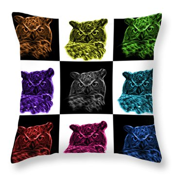 Mosaic V1 Owl 4436 - F M Throw Pillow by James Ahn