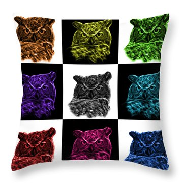 Mosaic V2 Owl 4436 - F M Throw Pillow by James Ahn