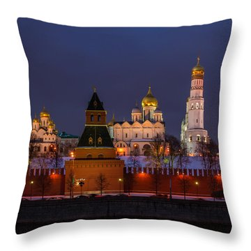 Moscow Kremlin Cathedrals At Night - Square Throw Pillow by Alexander Senin
