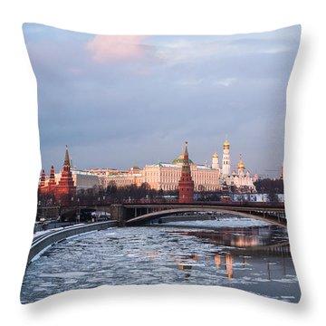Moscow Kremlin In Winter Evening - Featured 3 Throw Pillow by Alexander Senin