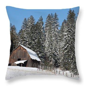 Moscow Mtn. Barn Throw Pillow