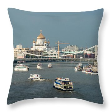 Moscow-river Traffic In Summertime - Featured 3 Throw Pillow by Alexander Senin