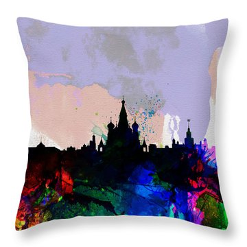 Moscow Watercolor Skyline Throw Pillow