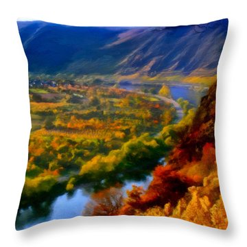 Mosel In The Fall Throw Pillow by Michael Pickett