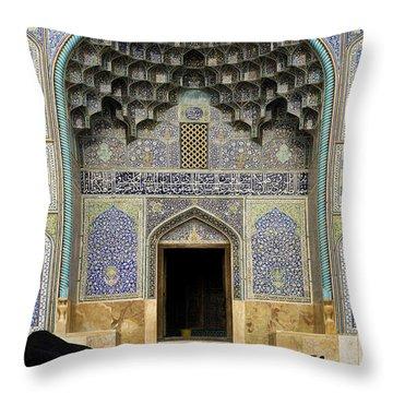 Mosque Door In Isfahan Esfahan Iran Throw Pillow
