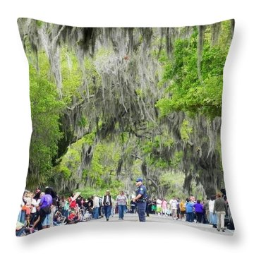 Throw Pillow featuring the photograph Moss And Massive Crowd by Patricia Greer