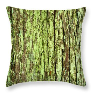 Moss On Tree Bark Throw Pillow