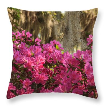 Moss Over Azaleas Throw Pillow