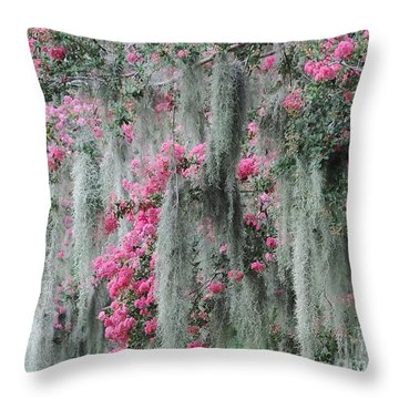 Mossy Crepe Myrtle Throw Pillow