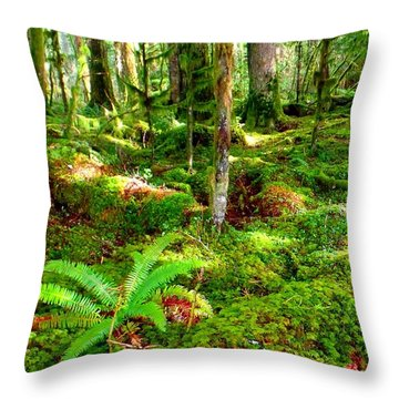 Mossy Forest Throw Pillow by Karen Molenaar Terrell
