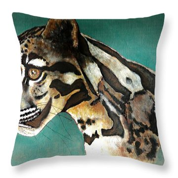 Throw Pillow featuring the painting Most Elegant Leopard by VLee Watson