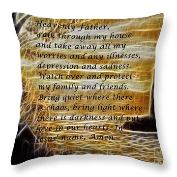 Most Powerful Prayer With Lighthouse Scene Throw Pillow by Barbara Griffin