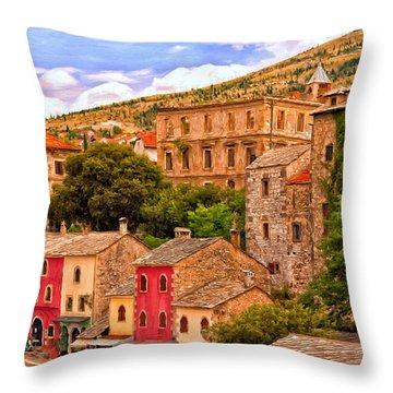 Mostar Throw Pillow by Michael Pickett