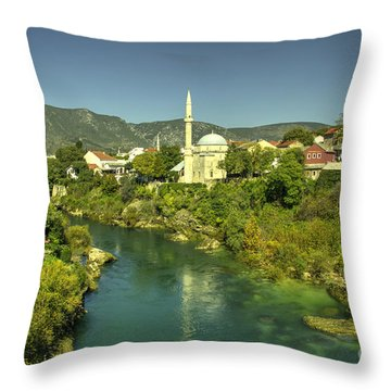 Mostar River And Mosque  Throw Pillow
