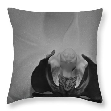 Throw Pillow featuring the photograph Moth Orchid Bw by Ron White