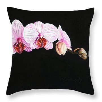 Moth Orchid Throw Pillow by Marna Edwards Flavell