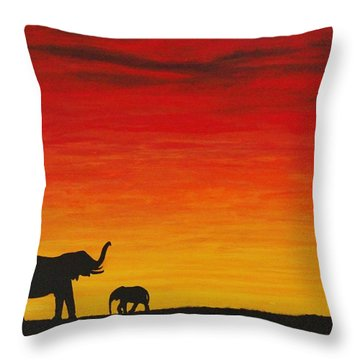 Throw Pillow featuring the painting Mother Africa 1 by Michael Cross