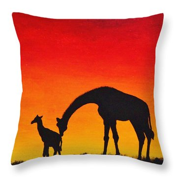 Throw Pillow featuring the painting Mother Africa 2 by Michael Cross