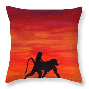 Throw Pillow featuring the painting Mother Africa 4 by Michael Cross