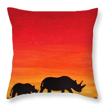 Throw Pillow featuring the painting Mother Africa 5 by Michael Cross