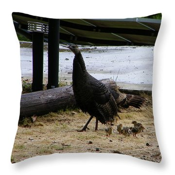 Mother And Babies Throw Pillow