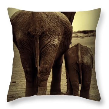 Mother And Baby Elephant In Black And White Throw Pillow