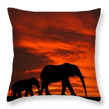 Mother And Baby Elephants Sunset Silhouette Series Throw Pillow