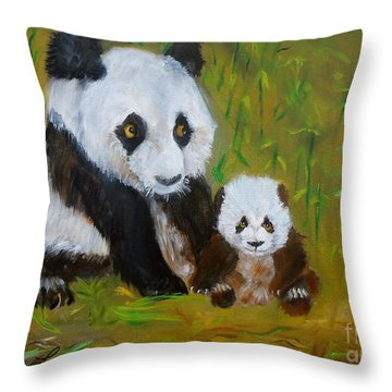 Throw Pillow featuring the painting Mother And Baby Panda by Jenny Lee