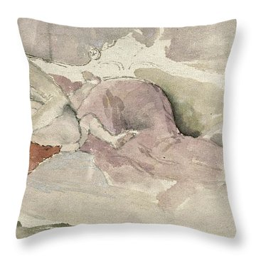 Mother And Child On A Couch Throw Pillow by James Abbott McNeill Whistler