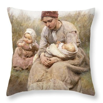 Mother And Child Throw Pillow by Robert McGregor